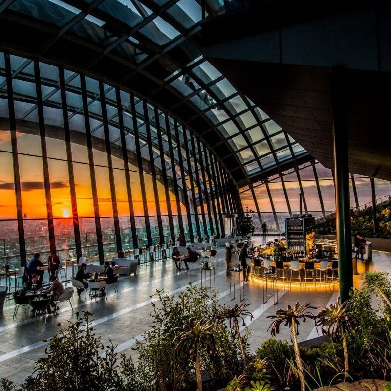 sky garden bar with sunset